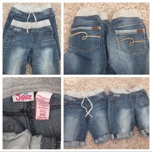 Justice pair size 10 slim jean shorts